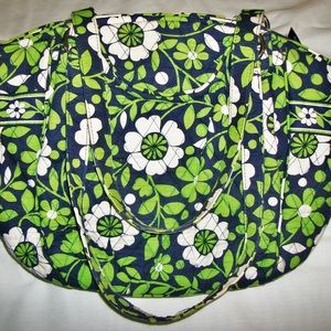 Vera Bradley Large Shoulder Bag Purse Green Black